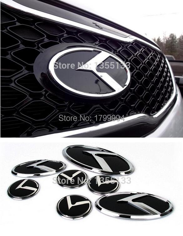2016 New Direct Selling Head 3pcs/set Kia Optima Front Rear Trunk Steering Wheel Emblem Badge Red/black For Soul K2 K5 Forte(China (Mainland))