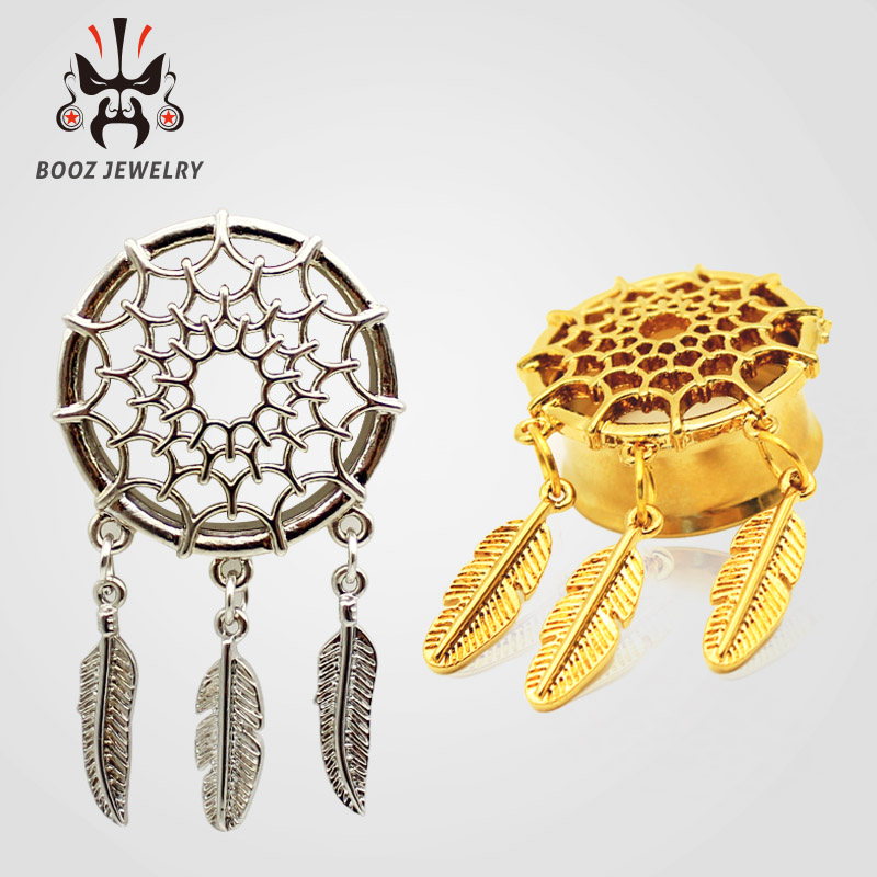 2016 fashion 2pcs dream catcher ear piercings tunnel plugs body jewelry ear stretchers reamer sell by pair(China (Mainland))