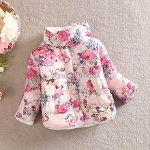 Warm Princess Girls Floral Thick Outerwear Long Sleeve Jacket Cotton Coat