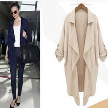 S-XL  autumn winter V-Neck solid turn-down collar asymmetric women trench coat plus size ladies cardigan windbreaker MWT142