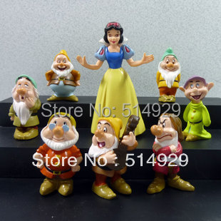 freeshipping Cute Snow White and Seven Dwarfs Figure set for Xmas Gift New Retail doll toys for children