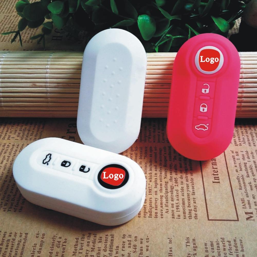 Car Silicone Flip Folding Key 3 Button remote key FOB Shell Cover skin set for FIAT 500 Panda Punto Bravo keyless entry protect(China (Mainland))