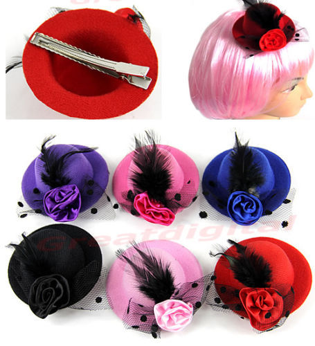 d75 New Fashion Lady's Mini Hat Hair Clip Feather Rose Top Cap Lace fascinator Costume Accessory 6Colors Free Shipping(China (Mainland))
