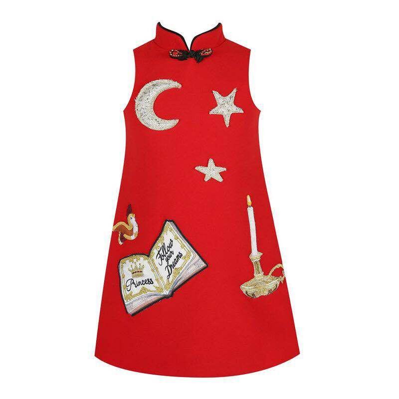 Скидки на 2016 Мода Китайском Стиле Цветок Книга Печати Хлопок детская Ткань Дети Qipao Платье Без Рукавов Осень Зима девушки Платье