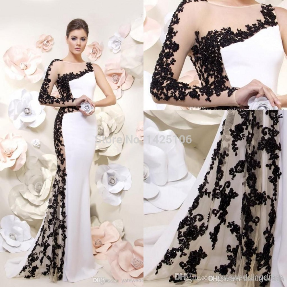Black And White Long Sleeve Prom Dresses : Moniezja.com
