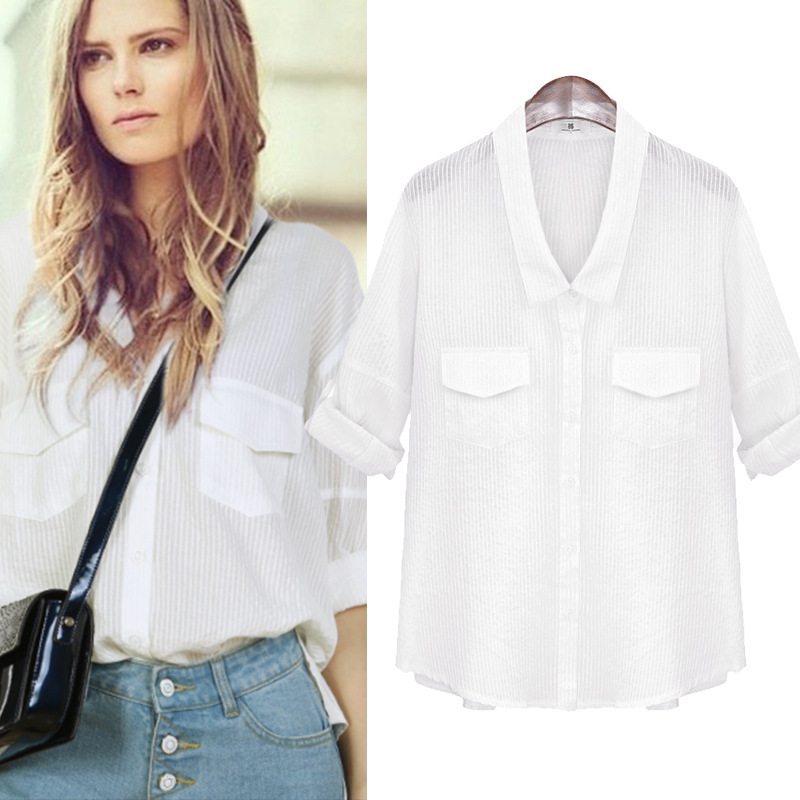 large size women V collar long sleeved white shirt all ...