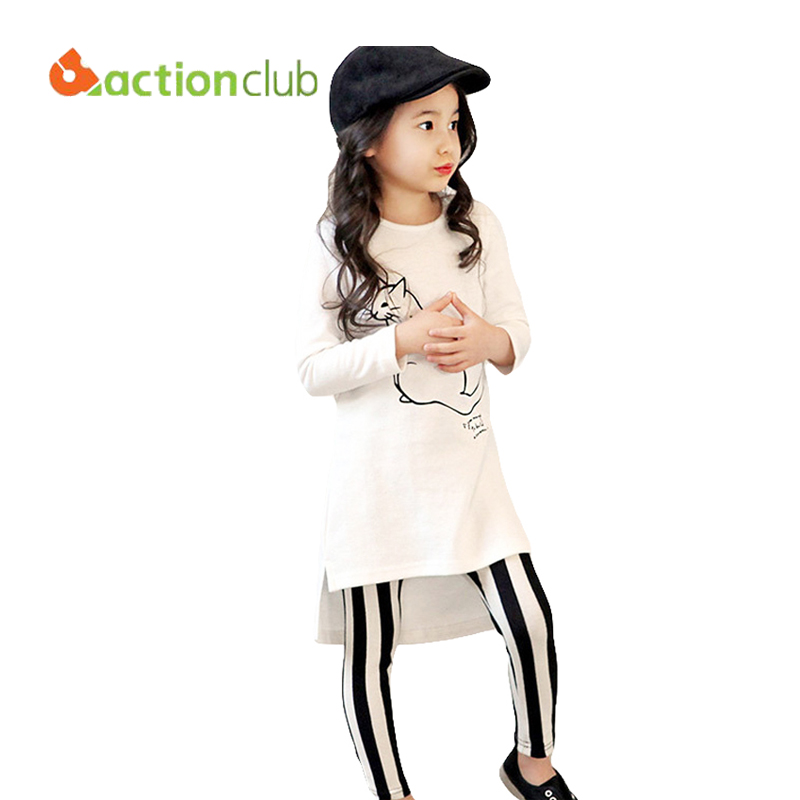 2016 Girls T-shirt and Pants Kids Set Clothes Long-sleeved Fashion Stripe Cotton Trousers Children Clothing KS454<br><br>Aliexpress