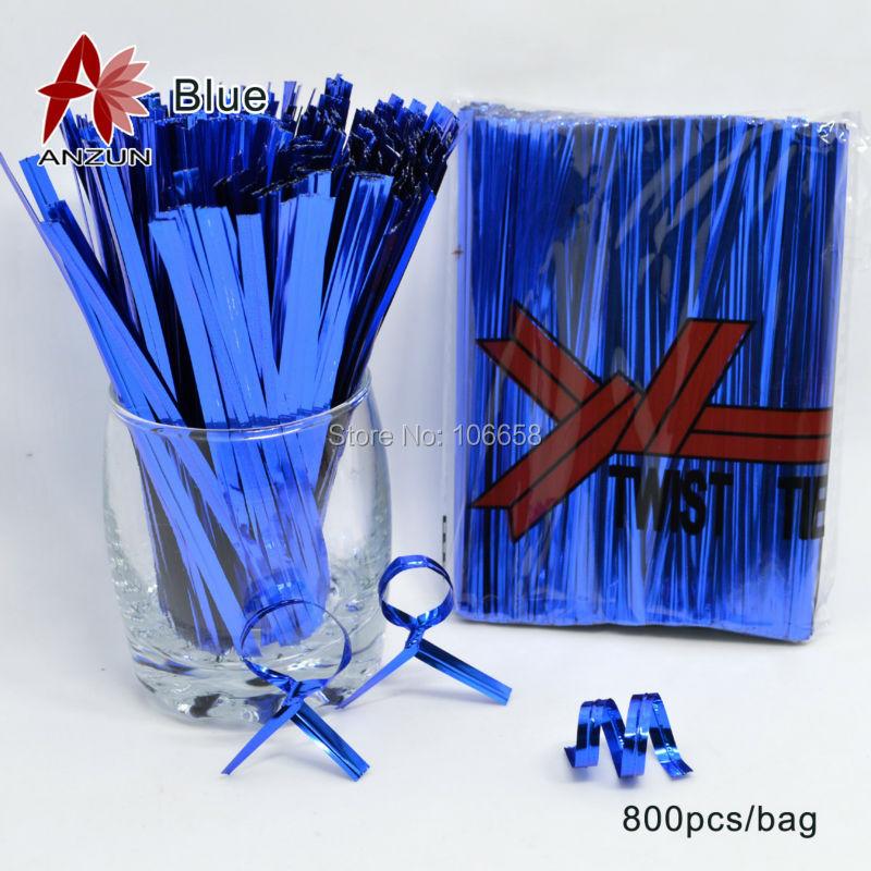 800pcs Blue Wire Metallic Twist Ties For Cello Candy Bag Steel Baking packaging ligation lollipop dessert sealing twist tie(China (Mainland))