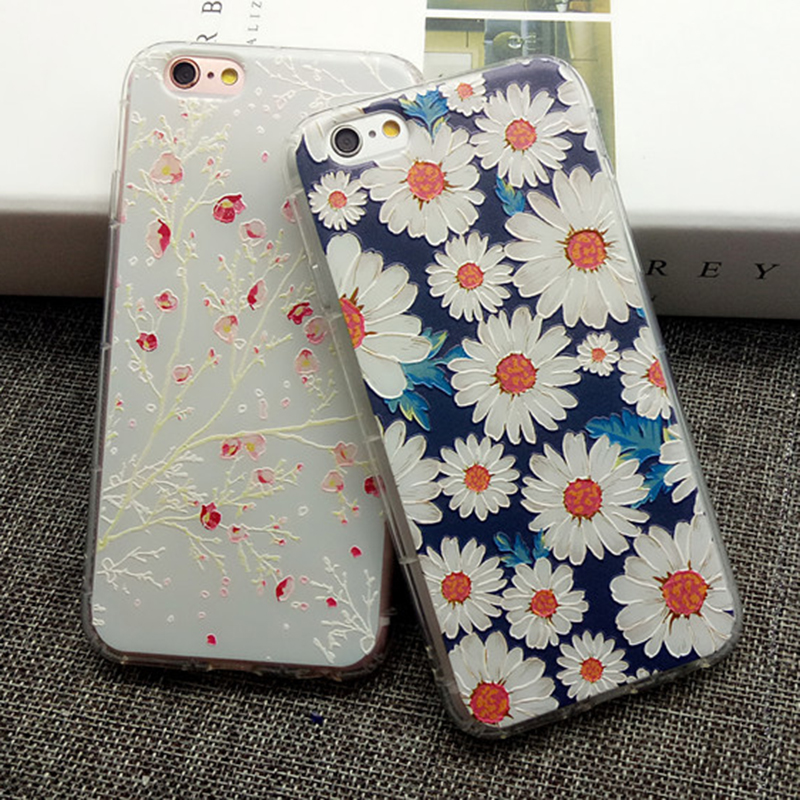 For iPhone 7 Plus 7Plus Case Cover Luxury Soft Silicone 3D Relief Embossing Matte Flower Painted Fundas Capa Mobile Phone Bag(China (Mainland))