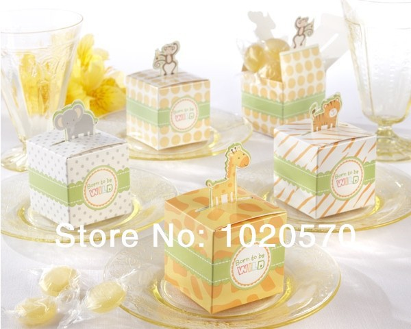 Born to be Wild Jungle Animals Baby Shower Favor Boxes,Favor Candy Box Party Baby Shower Decorations,100pcs/lot Free Shipping(China (Mainland))
