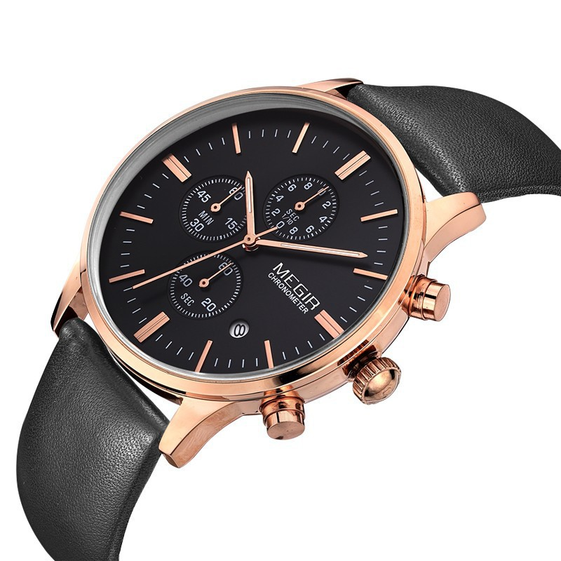 megir chronograp black genuine leather gold business