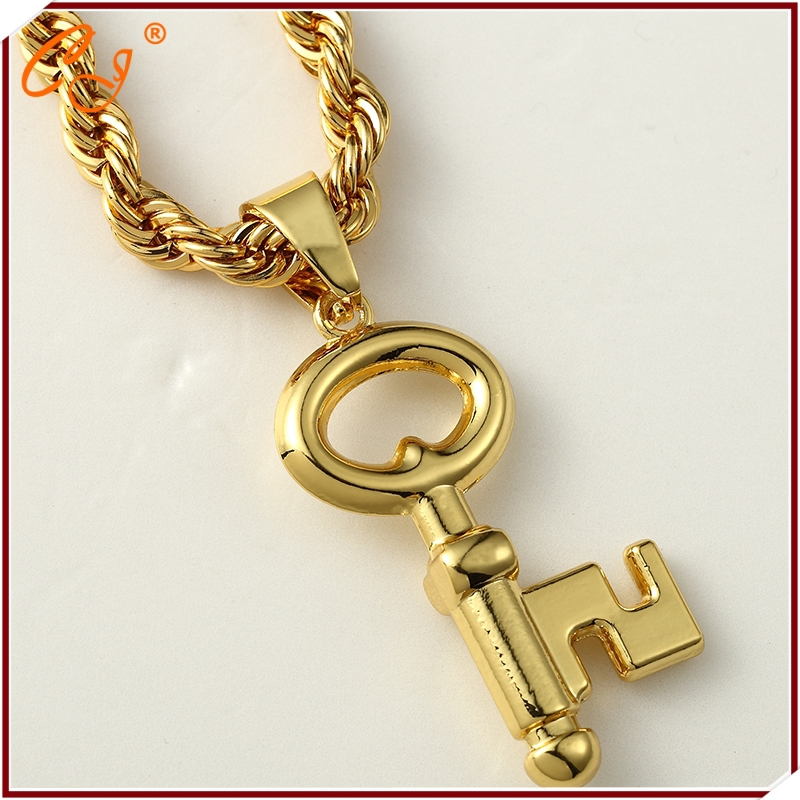 Europe and the United States the new 18 k gold key boutique crane necklace hip-hop rap jewelry wholesale(China (Mainland))
