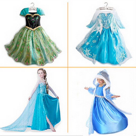 2015 Summer Girls Dress Elsa Anna Cosplay Dress vestidos infants princess Dresses Children Clothing Baby Kids Clothes 2-11 yrs(China (Mainland))