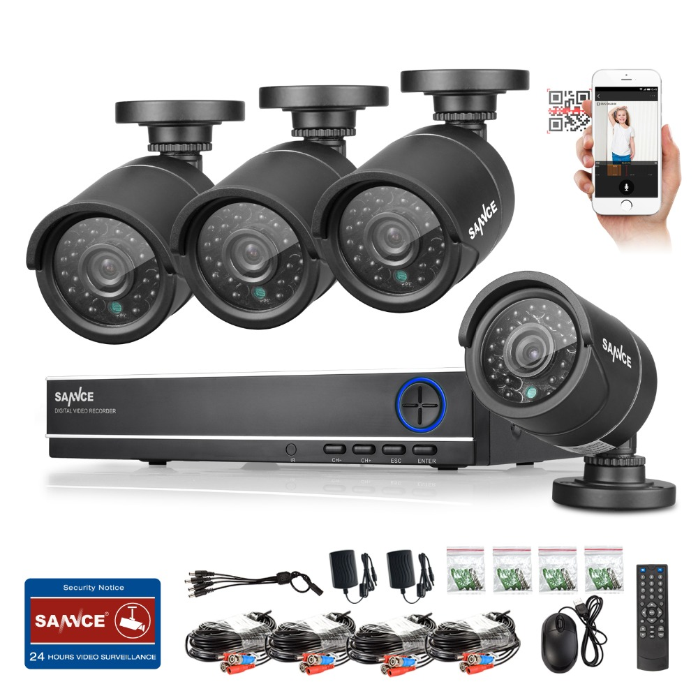 SANNCE HD 1080p NVR 4 Channel CCTV system video surveillance DVR KIT with 4PCS 1280TVL 720P Home security 4ch camera system(China (Mainland))