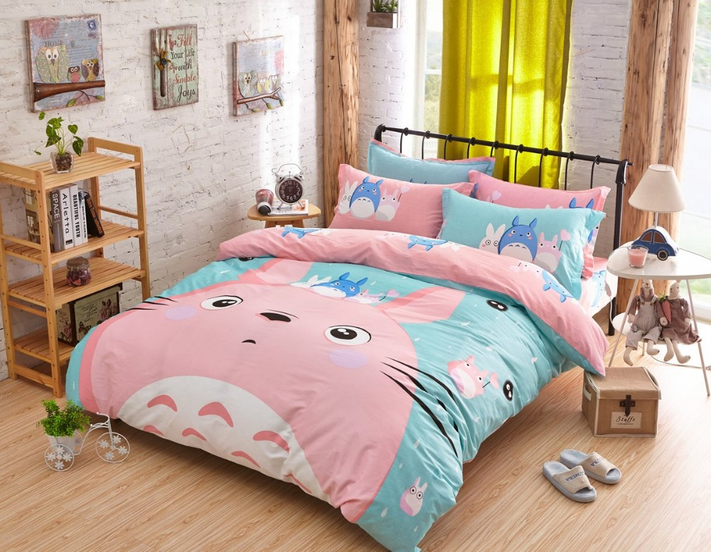 top quality 100 cotton pink girls bed totoro full twin size comforter sets bed sheets kids. Black Bedroom Furniture Sets. Home Design Ideas