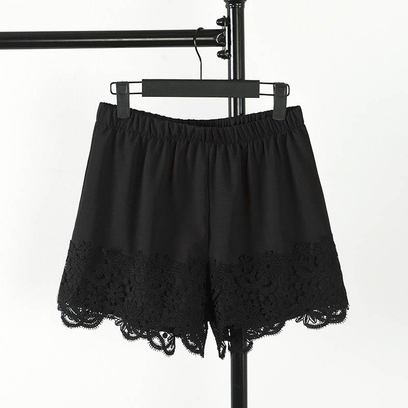 Women Summer Chiffon Shorts Casual Loose Patchwrok Lace Shorts Plus Size 3XL White Black KK1120(China (Mainland))