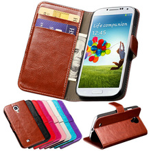 Luxury Wallet with Card Holder Stand PU Leather Case for Samsung Galaxy S4 i9500 SIV Phone Bag Vintage Cover Brown Pink Black(China (Mainland))