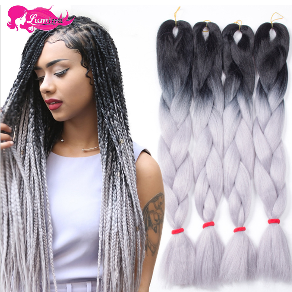 Crochet Box Braids Ombre : Grey Ombre Two Tone Box Braids Hair Jumbo 100g/Pc Hair Crochet Braids ...