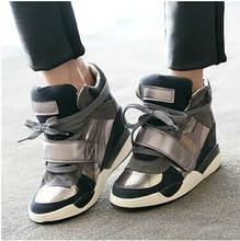 Hot 2015 High Quality Women Wedge Sneakers Women's Height Increasing 7cm Wedges High Heel Shoes  Wholesale Free Shipping