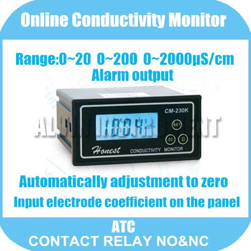 Free Shipping Online Conductivity Monitor Tester METER Analyzer 0-2000us/cm Error:2%F.S ATC Alarm output