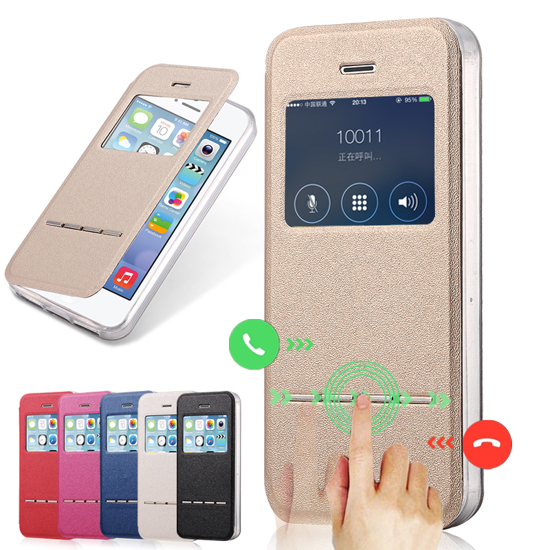 Newest Window View Case For iPhone 4 4S Flip PU Leather Sliding Answer Call Phone Cover Coque For iPhone 4 4S 4 S Case Fundas(China (Mainland))
