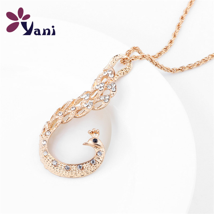 2015 New Arrival Rhinestone Gold Alloy Peacock Pendant Necklace Women Long Necklace &amp; Pendants For Women<br><br>Aliexpress
