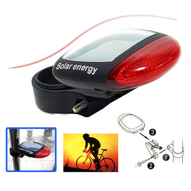New Bicycle Bike Solar Powerful LED Rear Tail Bike Lamp Lights Red Free Shipping TL#8(China (Mainland))