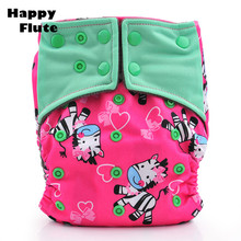10PCS/LOT Happy Flute Cloth Diaper Bamboo Charcoal Inner Pocket Reusable Baby Diapers Couche Lavable Baby Nappies Without Insert(China (Mainland))
