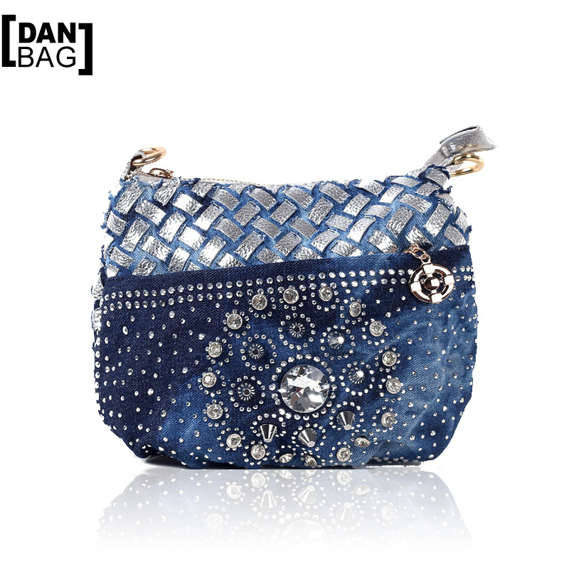 DANBAG Brands Hot Vintage Rhinestone Denim Weave Women Shoulder Messenger Bags Luxury Delicate Diamond Wallet Small Bag 2 Colors<br><br>Aliexpress