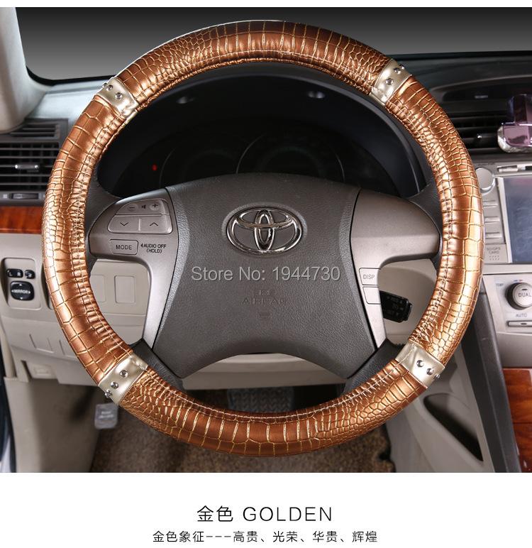 Personalized Crocodile Car Leather Steering Wheel Cover For volante esportivo/nissan primera/mitsubishi 95% Car Styling(China (Mainland))