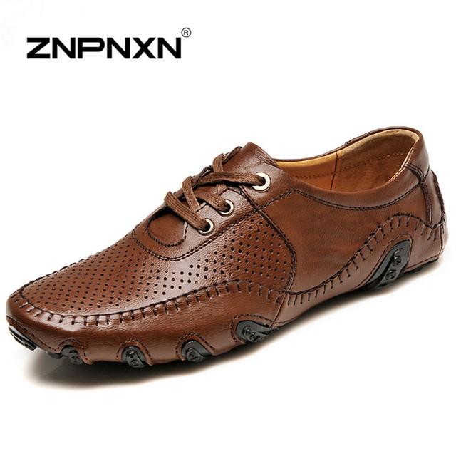 Znpnxn мужская обувь люксовый бренд натуральной кожи свободного покроя обувь мужчины ...