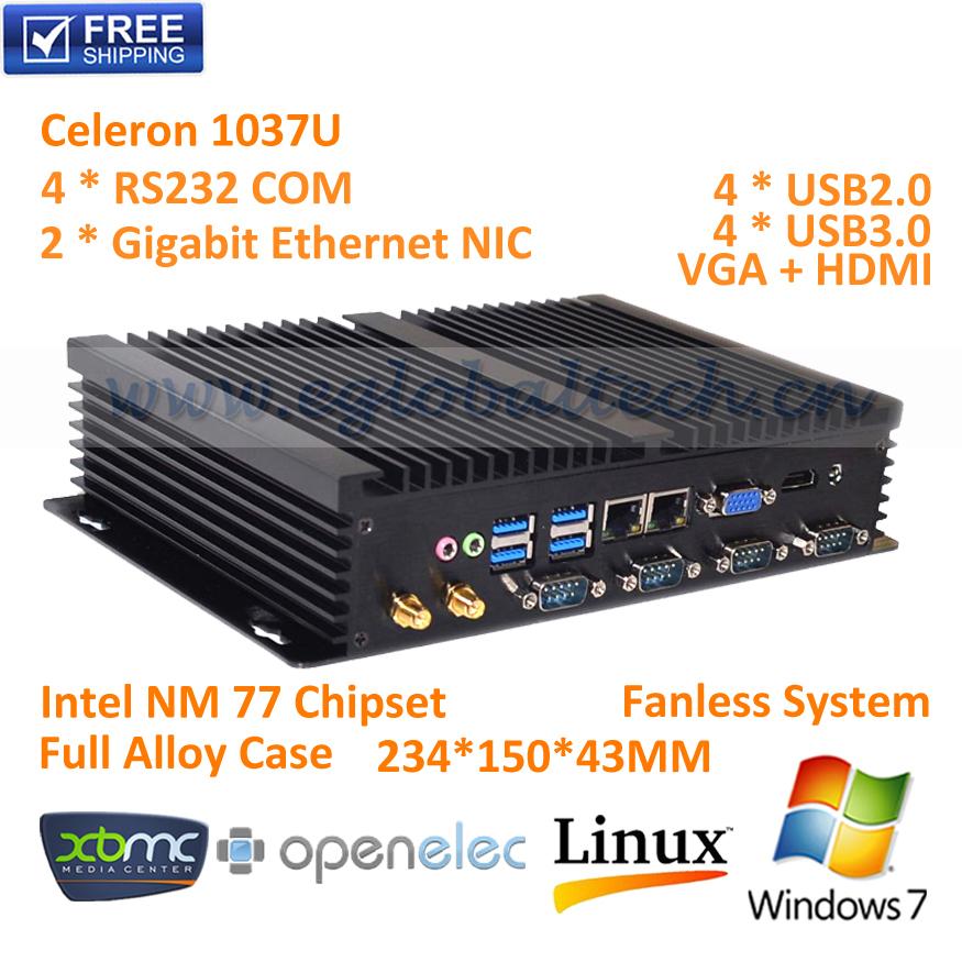 8G RAM+500GB HDD Fanless micro pc mini computer Intel Celeron 1037U Dual core,2*1000M LAN,4*COM RS232,USB 3.0,HDMI,Windows 7(China (Mainland))