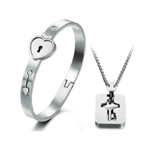 New high quality vacuum plated 18k gold key bracelet and necklace Titanium Stainless steel jewelry sets free shipping LH008(China (Mainland))