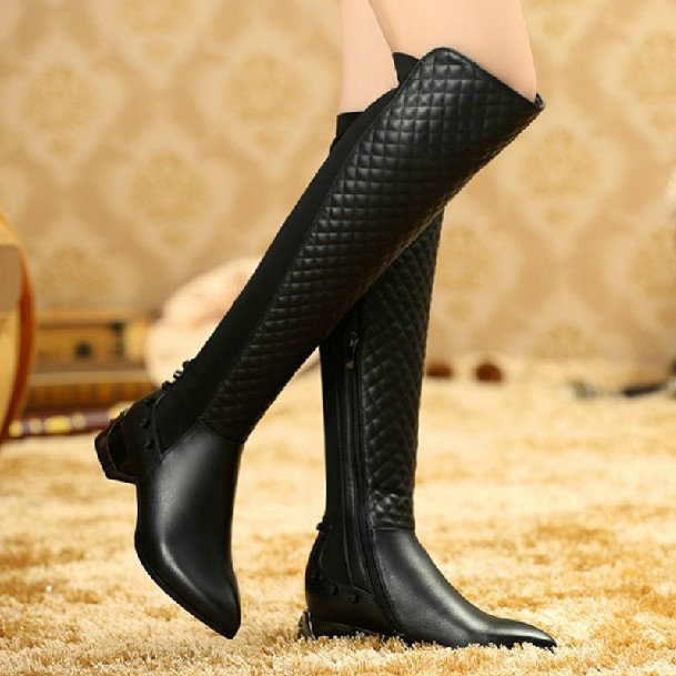 Real Leather Over The Knee Boots - Boot Hto