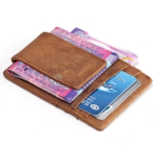 2016 Men Crazy Horse Genuine Leather Wallet Credit Card ID Holder with Strong Magnet Money Clip Brand wallets male(China (Mainland))
