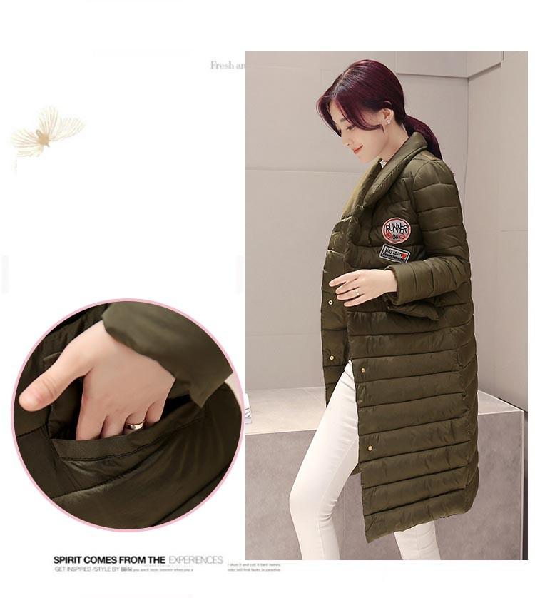 Скидки на Женщины Зимняя Куртка Теплый Ватные Пальто Размер M-2XL Army Green хлопок Внутри Вниз Куртка Рукавом Толстые Женщины Длинные Куртки Снег носить
