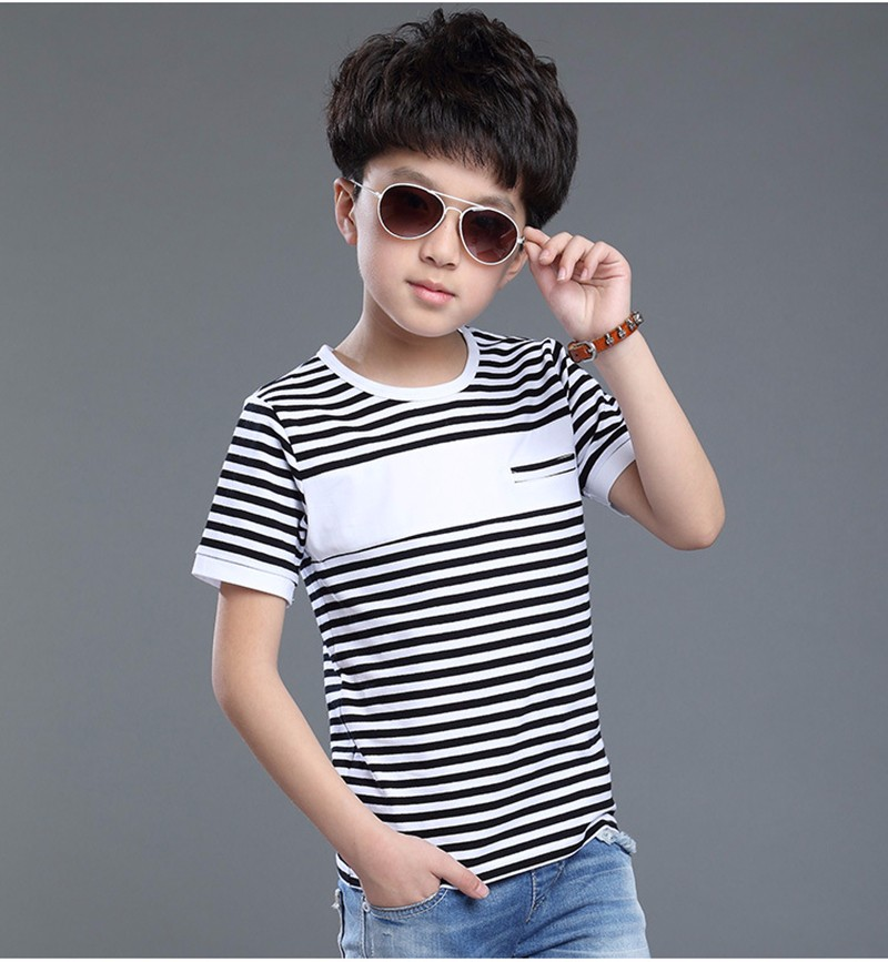 2016 Brand Summer Children Striped T Shirts Red And Black Clothes Boys Tshirts Cotton Short Sleeve Boy Breathable Soft Tee Shirt
