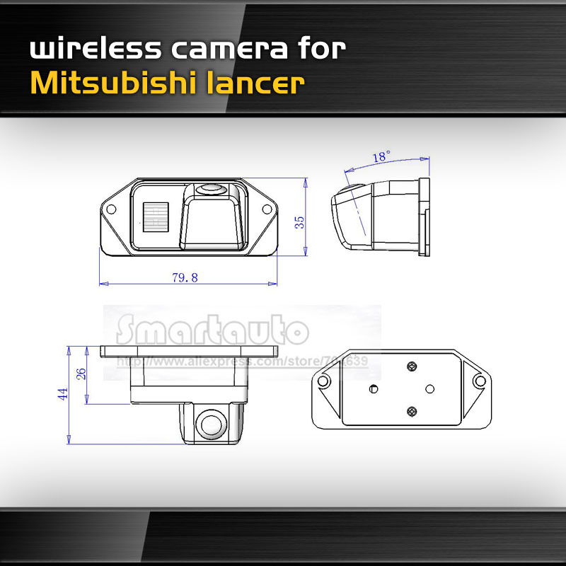 Wireless For Mitsubishi Lancer Car reversing Camera 170 degree HD CCD Night vision pixels 782*582 parking Security(China (Mainland))