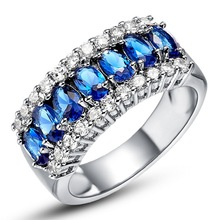 Women Men Sapphire White Gold Filled Ring Lady's 10KT Finger Rings 2014 Fashion Jewelry Size 6/7/8/9/10