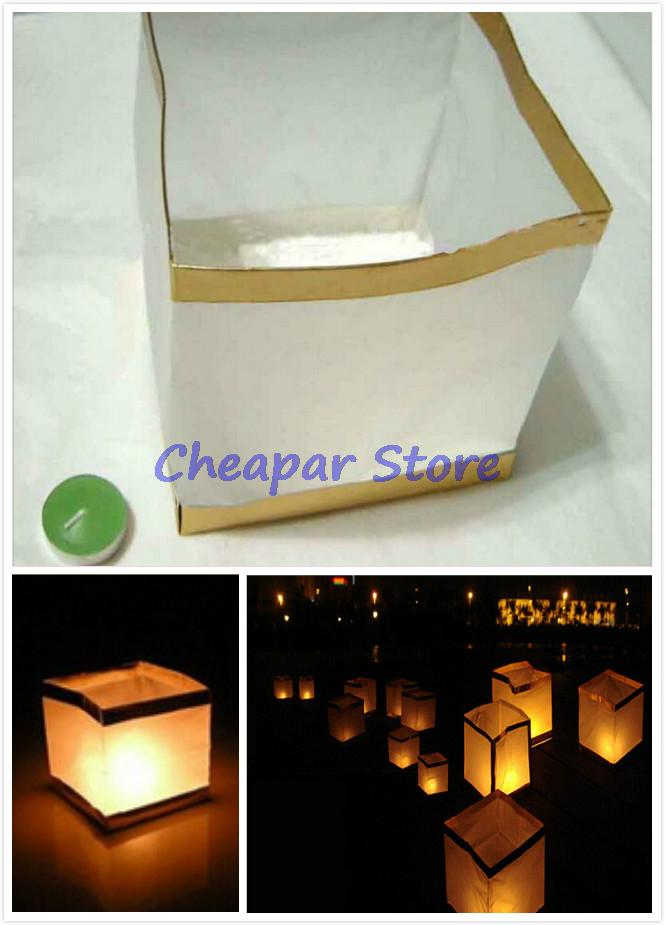 Hot Retro 5X Chinese Square Paper Wishing Floating Water River Candle Lanterns Lamp Light Free Shipping Wholesale High Quality(China (Mainland))