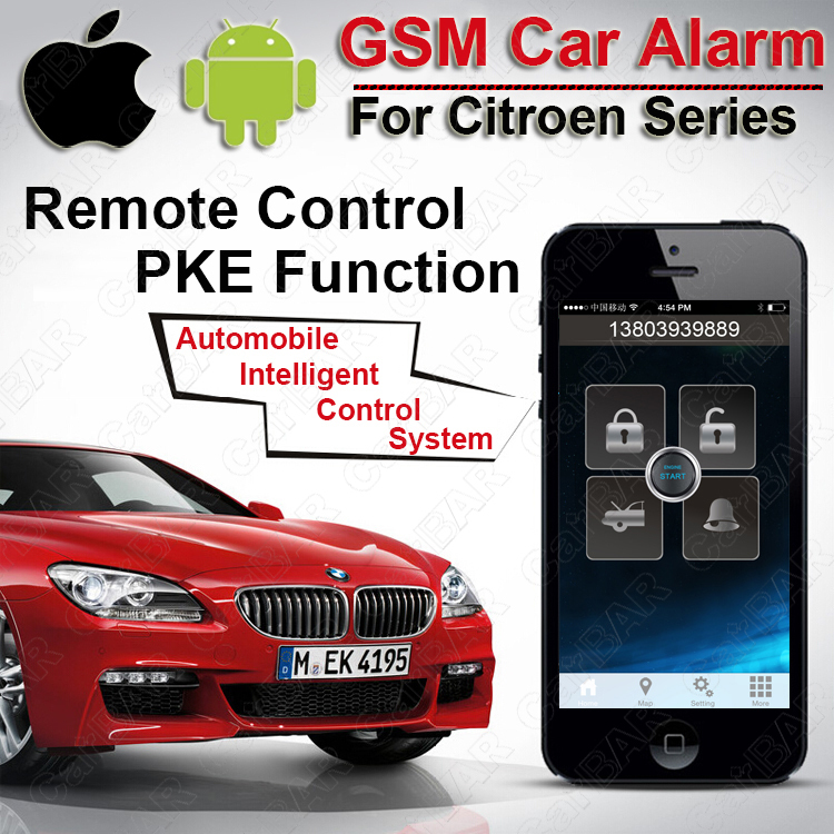 IOS Android PKE Keyless Entry System for Citroen Series One Start Stop Button Car Vibration SMS Calling Alarm CARBAR(China (Mainland))