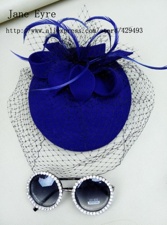 Royal Blue Felt Fascinator with Veil - Wool Beret - Retro Vintage Style Hat - Felt Fascinator With Feathers, British Style Hat(China (Mainland))
