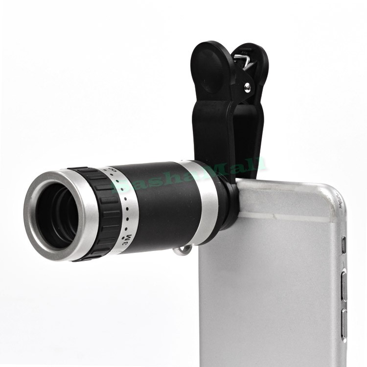 Universal New Mobile Phone Lenses External Camera 8x Times Zoom Cell Phone Telescope Clip 24(China (Mainland))