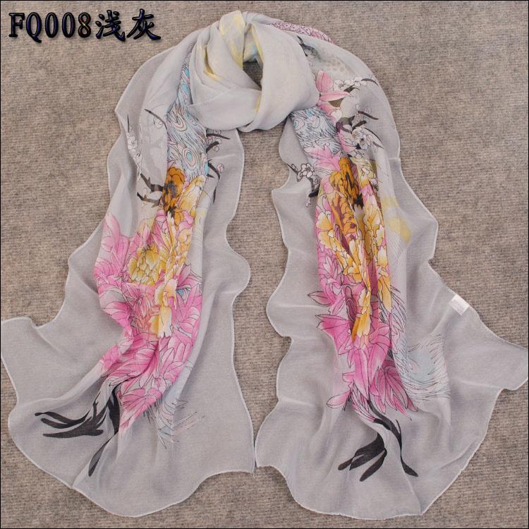 hot sale Super smooth  fashion long design faux silk scarf chiffon scarf whole sale