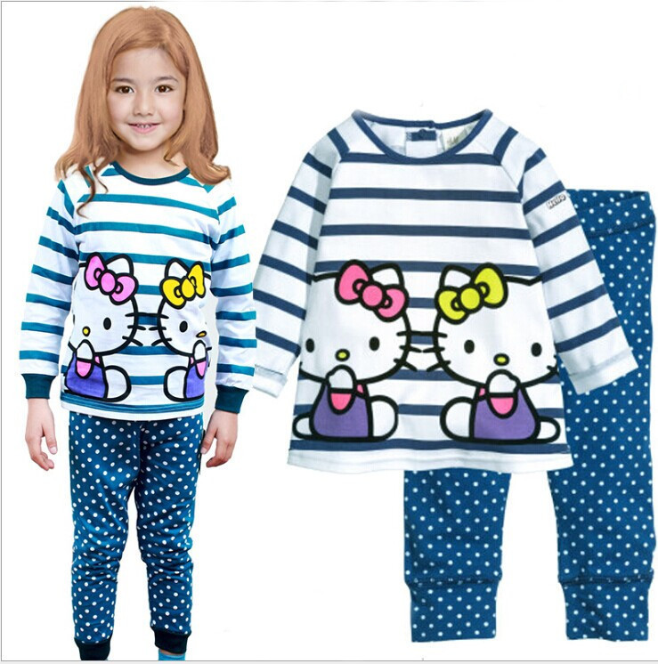 autumn style girl cartoon cute hello kitty clothes sets for Christmas gift children's clothes tops + long pants 2piece Homewear(China (Mainland))