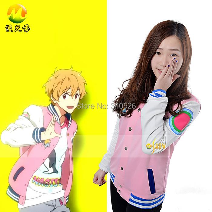 Quality Free!Iwatobi Swim Club Nagisa Hazuki Anime Coat Adult Unisex Pink Cosplay Costumes Casual Hoodie Jacket Factory Price(China (Mainland))