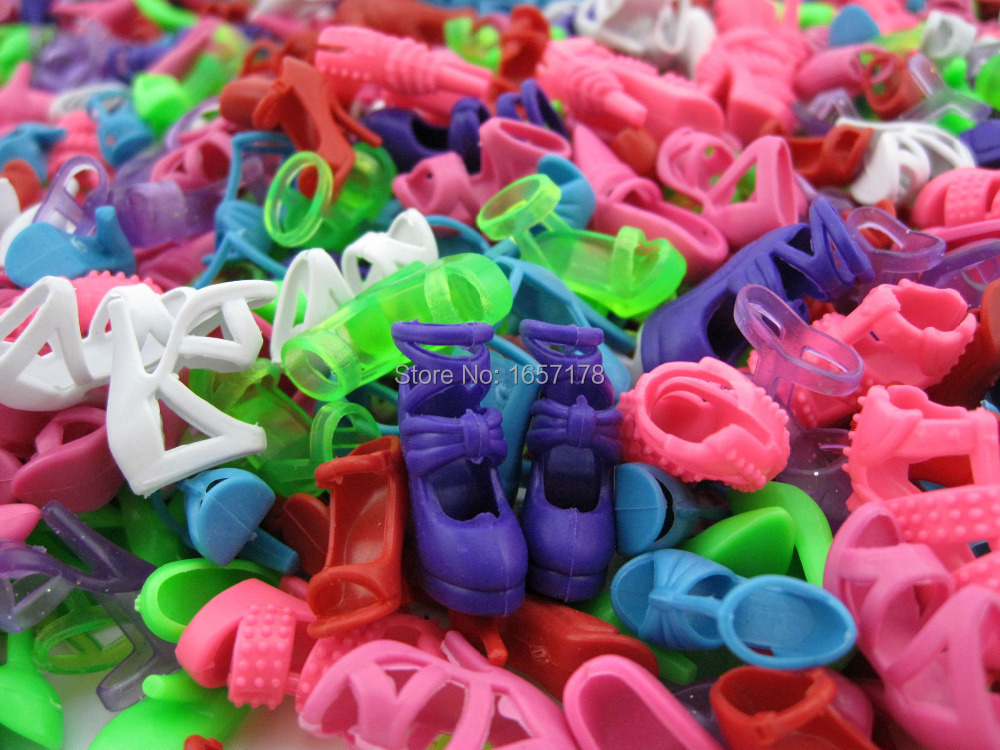 Free Shipping 10 Pair Fashion Colorful Doll Accessories Shoes Heels Sandals For Barbie Dolls Best Gift For Girl Baby Toys(China (Mainland))
