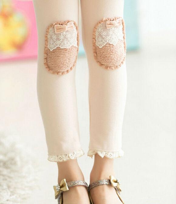 Fashion Sweet Embroidery Lace Knee Patch Winter Children Leggings  Fleece Thicken Girls Leggings Skinny Pants  Trousers <br><br>Aliexpress