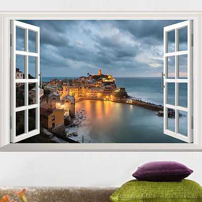 Window view scenery wall sticker seaside castle sticker for Collant mural hibou