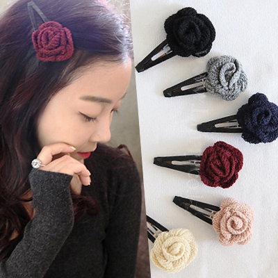 Wool Knitted Cloth Rose Flower Black Cloth Wrapped Girls Hair Clips Fashion Headwear for Women Hair Accessories free shipping(China (Mainland))